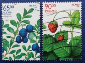 Iceland Berries Stamp Set Scott # 1054-5 Used (I896)