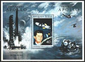 Chad. 1971. bl 14A. Kennedy, Apollo program, space. MNH.