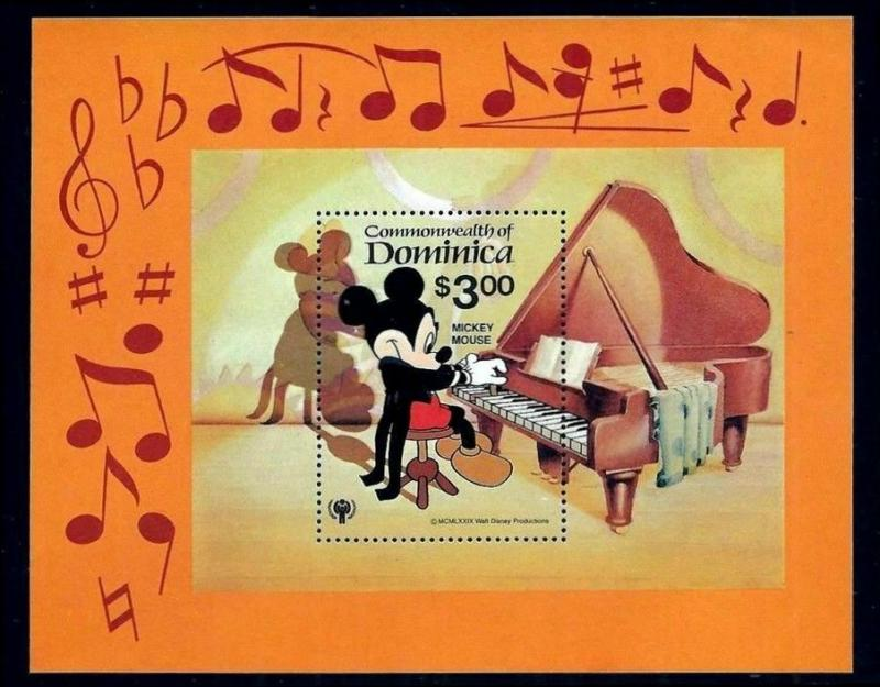 DOMINICA -1979 - DISNEY - MUSIC - MICKEY MOUSE - PIANO - MINT - MNH S/SHEET!