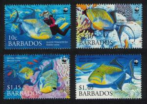 Barbados WWF Queen Triggerfish Diving 4v SG#1290-1293 MI#1119-1122 SC#1102-1105