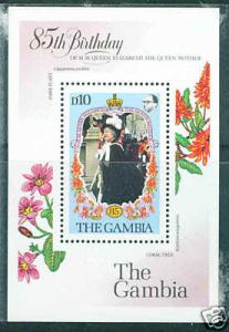 GAMBIA Scott 614 QE 80th Birthday sheet CV$4.25