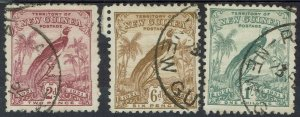 NEW GUINEA 1931 DATED BIRD 2D 6D AND 1/- USED/CTO