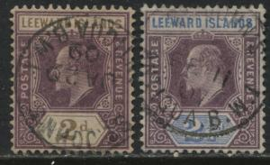 Leeward Islands KEVII 1905-08 2d & 2 1/2d used