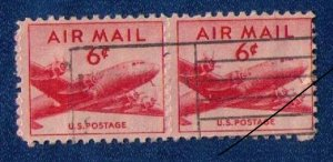US Sc #C39 Used Vert. Pair No Center Holes imperf between F-VF