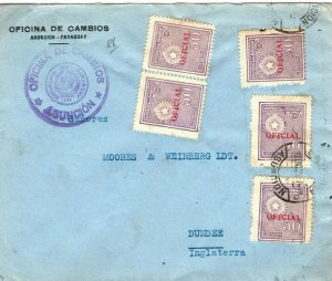 PARAGUAY Official Cover 2.50 Peso Rate Asuncion 1935{samwells-covers}SV16