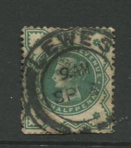 Great Britain  #125  Used 1900 Single 1/2p Stamp
