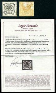 HERRICKSTAMP ITALY - ROMAN STATES Sc.# 9 VF Hinged Margin Stamp Sismondo Cert