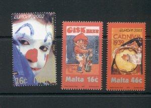 Malta  #1080/#1123-24 (2002-03 Europa sets) VFMNH CV $5,25