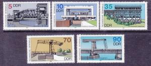 Germany DDR 2707-11 MNH 1988 Ship Lifts and Bridges Full Set Very Fine