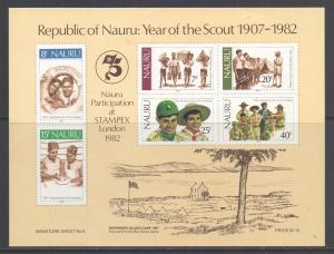 Nauru Scott 249a - SG MS262, 1982 Scouts Mini Sheet MNH**