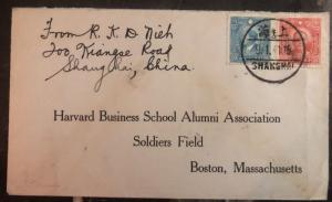 1941 Shanghai China Cover To Hardvard Business School Boston Ma Usa