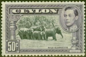 Ceylon 1938 50c Black & Mauve SG394a P.13 x 13.5 Fine LIghtly Mtd Mint Scarce
