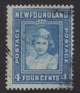 Newfoundland  #247  used   1938   4c  Princess Elizabeth