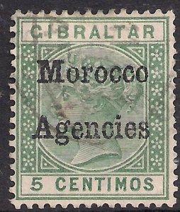 Morocco Agencies 1898 - 00 QV 5ct Green used SG 1 ( R900 )