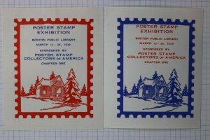 Poster Stamp club Exhibition Boston Library 1939 Philatelic Souvenir set 2 label