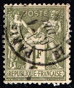 FRANCE STAMP 1876 -1878 Pax and Mercury 1F. used stamp