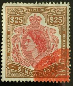 MALAYA SINGAPORE QEII REVENUE $25 Used M3252