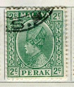 MALAYA PERAK; 1935 early Sultan issue fine used 2c. value