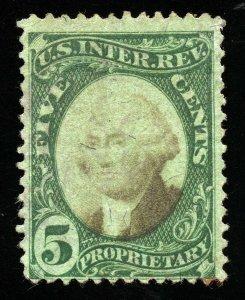 B248 U.S. Revenue Scott RB5b 5-cent Proprietary, green paper, SCV = $250