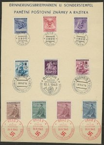 Bohemia & Moravia 84//B17 FDI on heavy stock paper with special cancels 409368