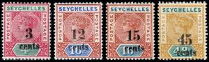 Seychelles Scott 22-24a, 25 (1893) Mint H VF, CV $64.50 B