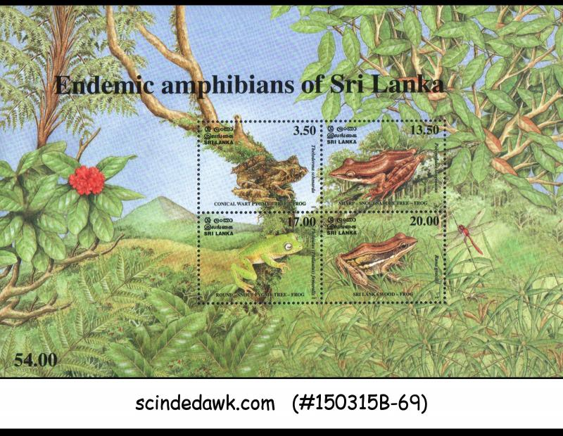 SRI LANKA - 2001 ENDEMIC AMPHIBIANS OF SRI LANKA / FROG - MIN. SHEET MINT NH