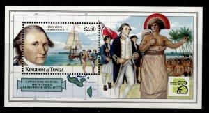 TONGA QEII SG MS1452, 1999 $2.50 James Cook mini sheet, NH MINT.
