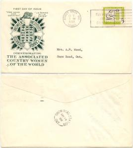 Canada #385 1959 First Day Cover for Country Women - Interesting Cachet