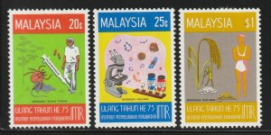 MALAYSIA 1976 75 Years of Institute of Medical Research 3V MLH SG#146-148