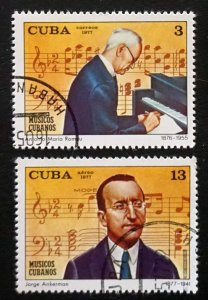 CUBA Sc# 2139  C251  COMPOSERS MUSICIANS music CPL SET of 2  1977  used / cto