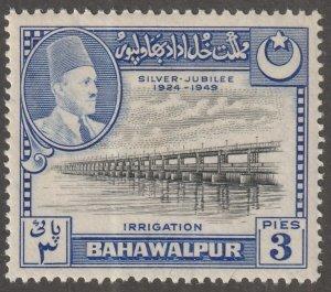 Pakistan, Bahawalpur, Scott#22, mint hinged, irrigation, #B-22