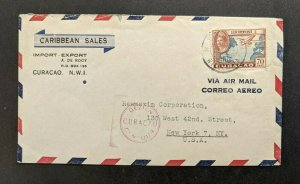 1944 Caribbean Sales Curacao NWI Censorship Airmail Cover to New York NY