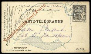 fr033 France Carte-Telegramme Telegraphe 30c Paris Map, red overprint used