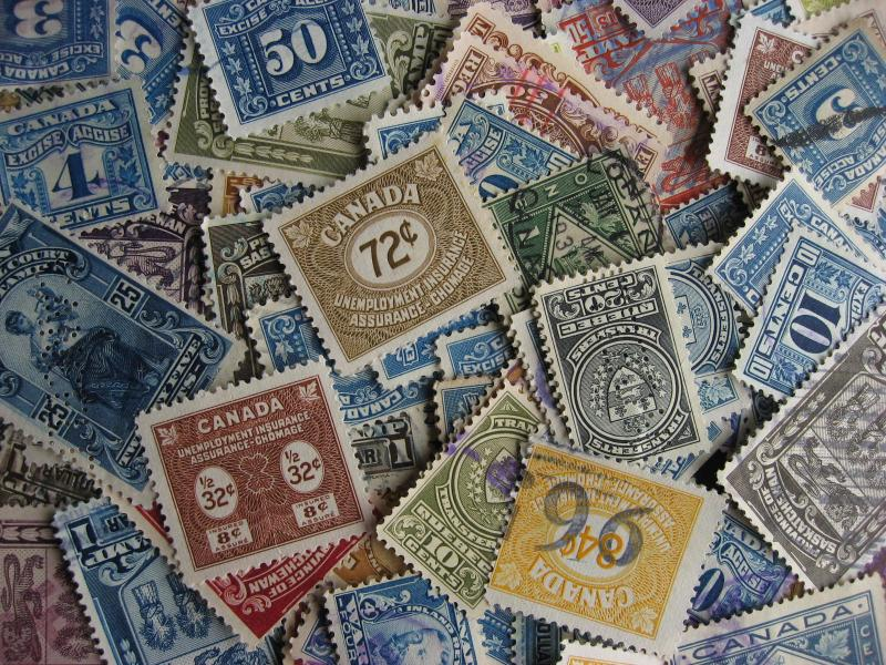 Canada 100 revenue stamps mixture (duplicates, mixed condition)