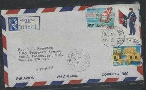 MALTA COVER (PP2004B) 1991  10C BOAT+GUARD 25C+4C REG ATTARD SPO A/M TO CANADA