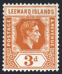 Leeward Is 1938 3d Orange GVI Key Plate SG 107 Scott 109a LMM/MLH Cat £35($45)
