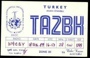QSL RADIO CARD Friendship & Peace In The World,Asian Istanbul,Turkey, (Q3048)
