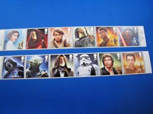 GREAT BRITAIN - STAR WARS 2 STRIPS OF 5  -  MNH