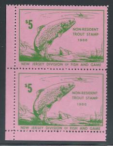 $5 Non-Resident New Jersey Trout Stamp 1966 #28, Vert Pai...