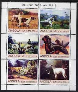 Angola 2000 Working Dogs perf sheetlet containing 6 value...