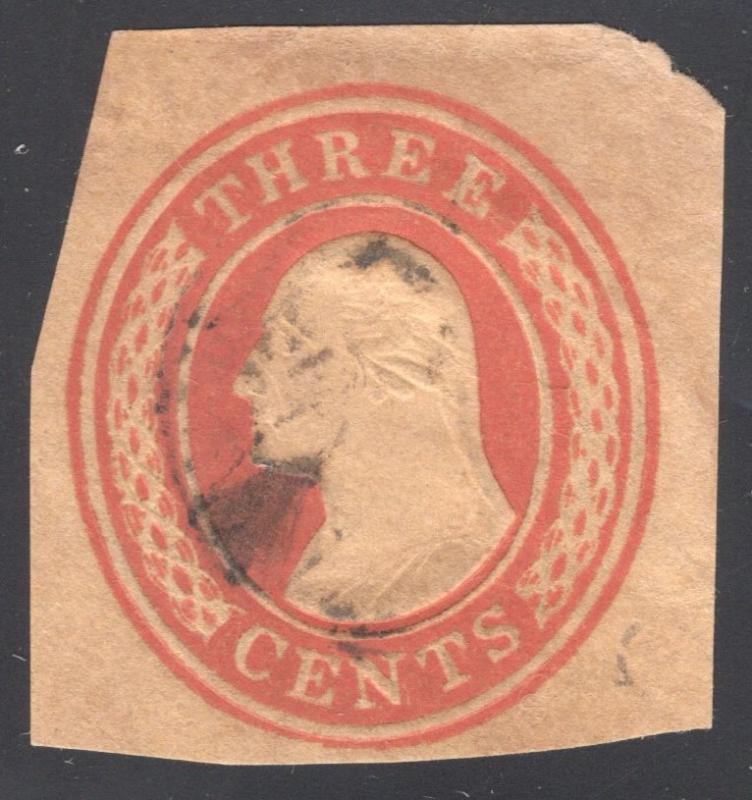 US#U10 Red, buff - Cut Square - Variety;Lines at End of Label Missing - Used