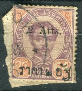 THAILAND; 1894 Small Roman 'Atts' surcharge used hinged 2/64a.