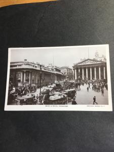 GB to Czechoslovakia Photo Post Card Scene Shows Busy Bsnk&Royal Exchange F+