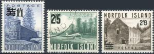 Norfolk Island #26-28 3 Revalued with New Value + Bars #27 Used Balance MH