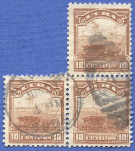 CUBA 1905 Sc 237  10c brown Cane Field Used block of three, F-VF