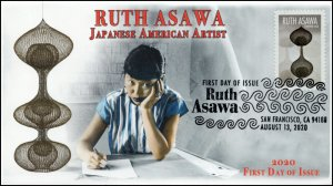 20-175, 2020, Ruth Asawa, First Day Cover, Pictorial Postmark, Japanese American