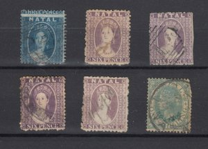 Natal QV Collection Of 6 Values Fine Used JK6153