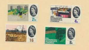 Great Britain Scott #410 To 413, 20th International Geographical Congress Iss...