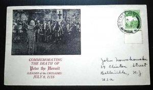 "RARE PALESTINE 1937 ""PETER THE HERMIT"" COVER BETHLEHEM CANCEL POSTALY USED USA"
