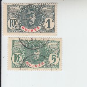 1906 FR Guinea Gen. Louis Faidherbe (Scott 33, 36)  Used